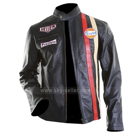 Mcqueenleather Jacket steve mcqueen gulf le mans biker style leather jacket