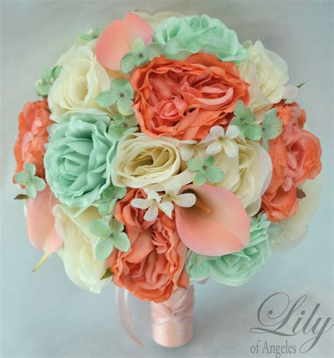mint green coral wedding 17 package silk flower wedding bridal bouquet mint