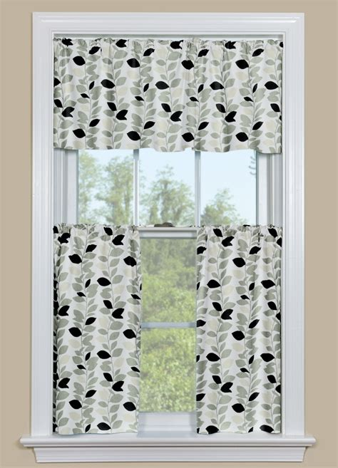 Black Tier Curtains Black Ivory And Grey Kitchen Curtain Leaf Garland Black