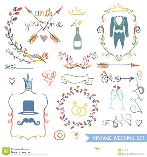 wedding doodle vector free vintage floral set with doodle decor wedding stock