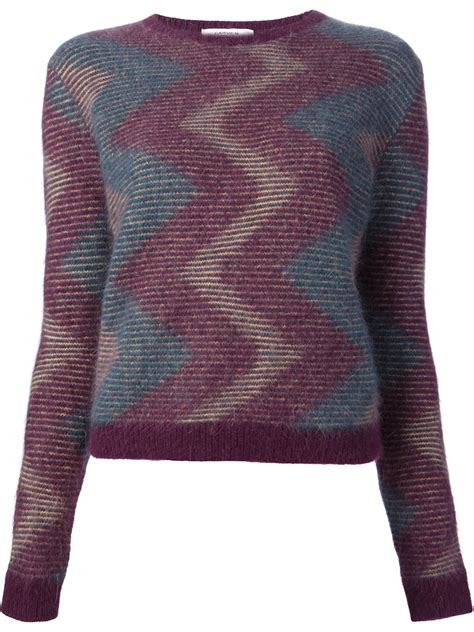 knit sweater with zig zag pattern lyst carven zig zag pattern sweater in purple
