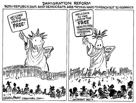 political cartoon about illegal immigration dan mitchell ron paul and milton friedman on immigration