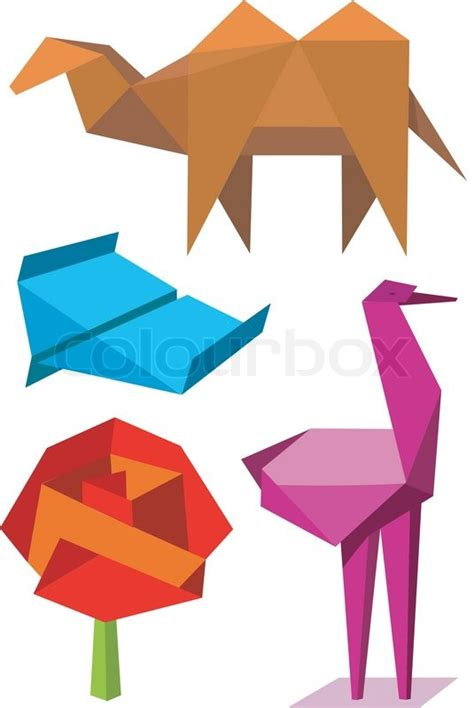 Origami Objects - colorful origami objects stock vector colourbox