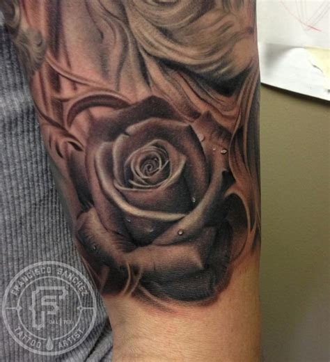 frank sanchez tattoos flower rose black and grey