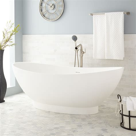 68 quot candra oval acrylic freestanding tub bathroom white oval tub signature hardware