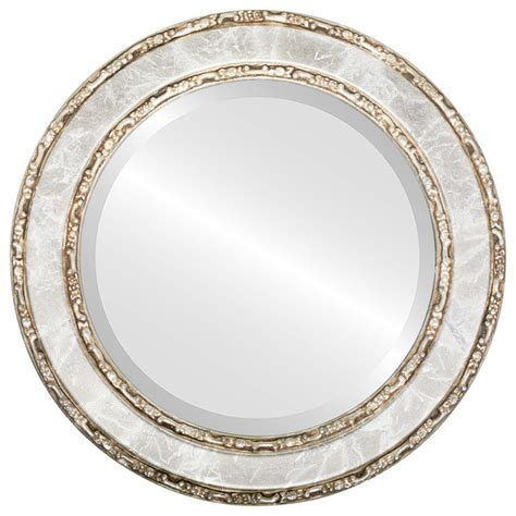 round silver bevelled mirror monticello framed mirror in chagne silver traditional wall mirrors by the oval