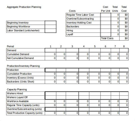 manufacturing capacity planning template gallery