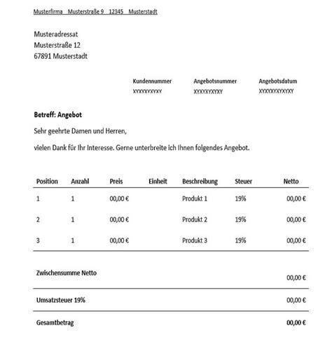 Angebot Formulierung Muster Angebot F 252 R Freiberufler Vorlage Muster