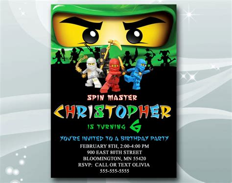 ninjago birthday card template ninjago birthday invitations cloudinvitation