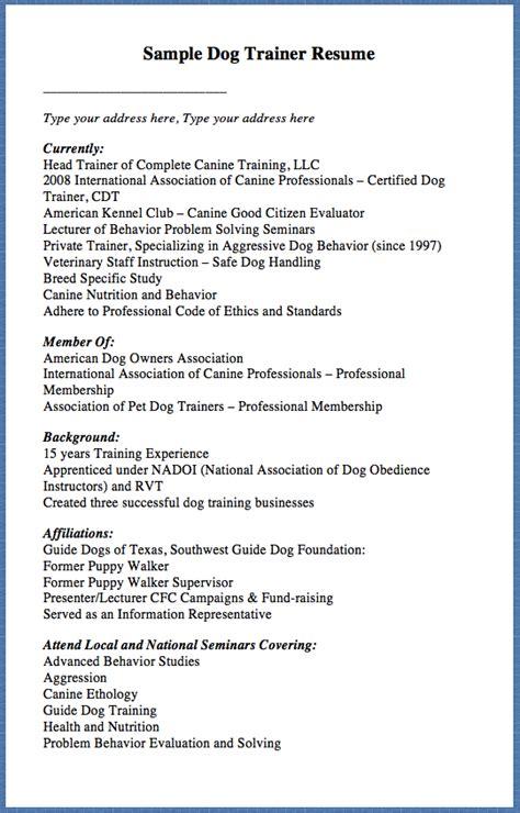 dog trainer resume resume ideas