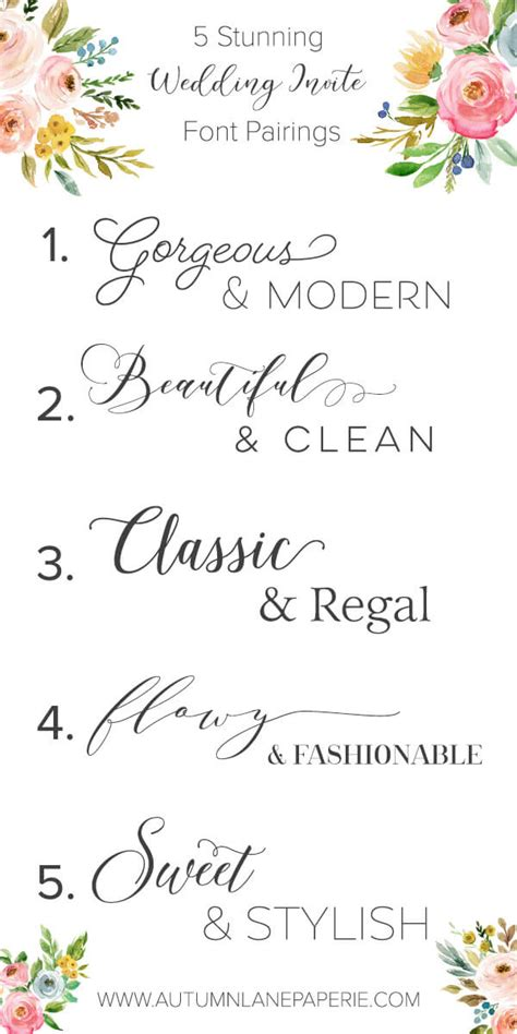 Wedding Font Ideas by Font Crush Time Autumn Paperie