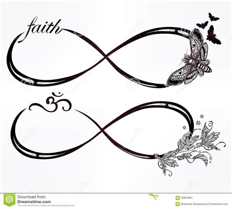 set of two different infinity symbols stock illustration