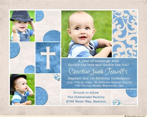 Chic Baptism Or Christening Invitation Baby S Photos Cross 1st Birthday And Christening Invitation Templates