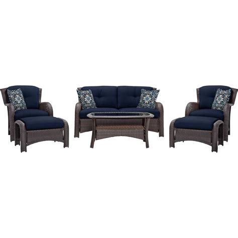 Navy Blue Patio Furniture Cambridge Corolla Aged Barrel Steel 6 All Weather Wicker Patio Conversation Set With Navy