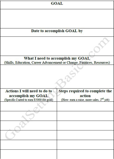 templates for goal setting goal setting worksheets templates creativetemplate