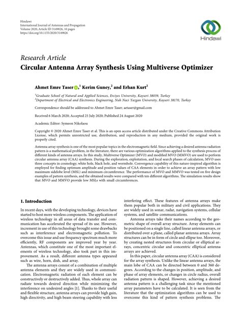 (PDF) Circular Antenna Array Synthesis Using Multiverse