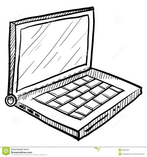 Laptop Computer Sketch Stock Vector Illustration Of Plug