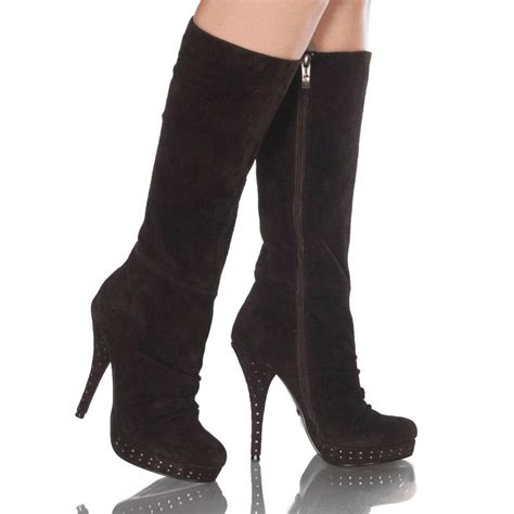 4 1 2 inch knee high suede boot with platform