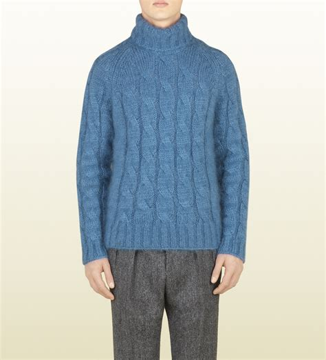 mens knit turtleneck sweater gucci blue cable knit turtleneck sweater in blue for