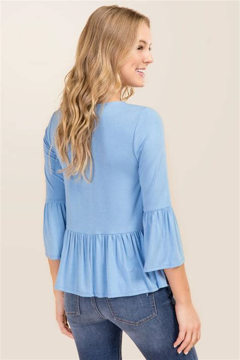 Sleeve Knit Top solid bell sleeve peplum knit top s
