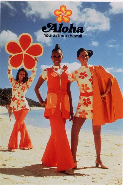 aloha airlines  color photo print ad models red orange
