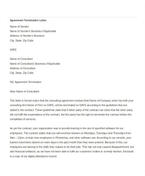 Contract Of Employment Termination Letter Sle contract termination letter sle pdf 28 images contract
