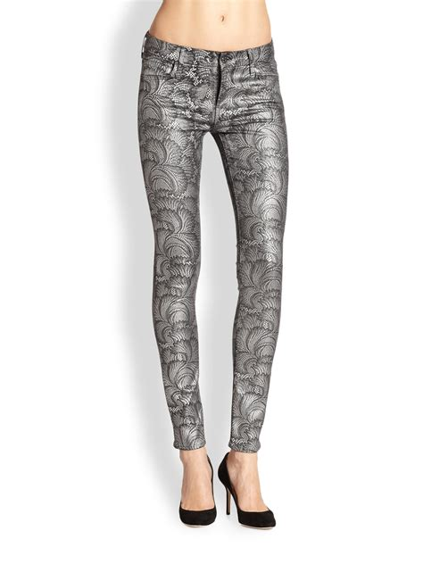 grey patterned skinny jeans 7 for all mankind the skinny contour waistband metallic