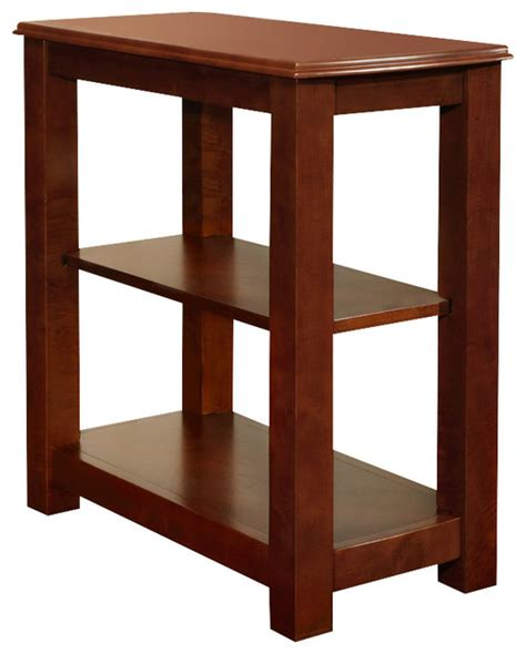 accent table with shelves cherry black modern wood chair side accent table storage