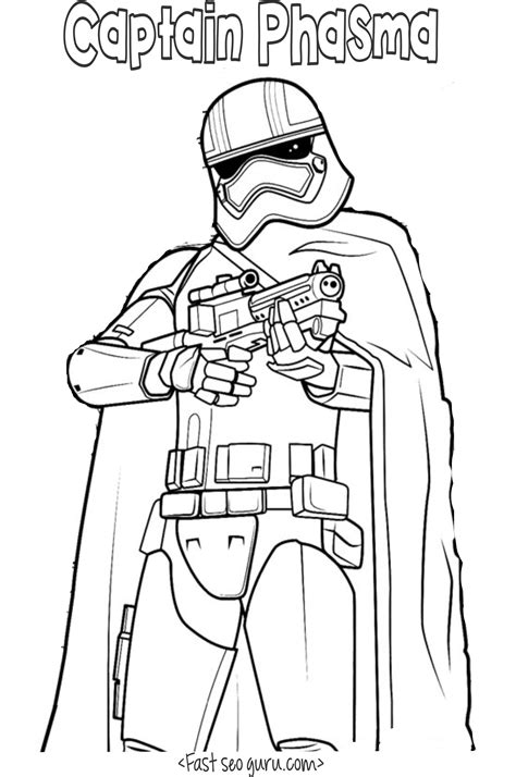 coloring pages wars awakens wars the awakens captain phasma coloring pages