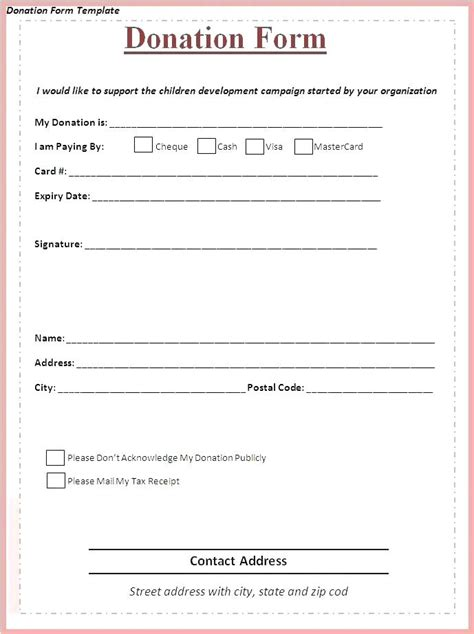 donation form sle printable free forms template