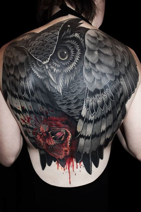 animal back piece tattoo owl with kill back full tattoo best tattoo design ideas
