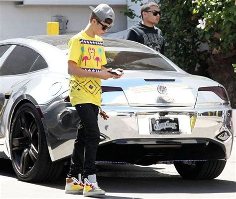 bieber chrome justin bieber with his chrome car fisker karma momoney