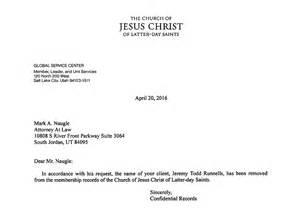 Resignation Confirmation Letter by Mormon Kangaroo Court Against Ces Author T Runnells