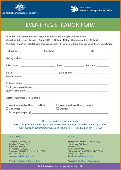 seminar registration form template word sign up form template word event registration