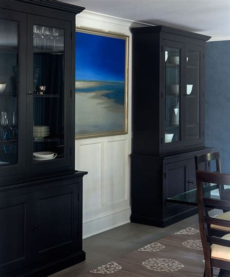 black dining room black breakfront cabinets with glass