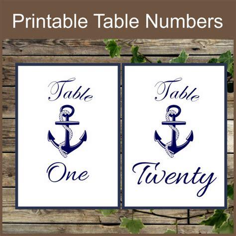 printable table numbers designs printable table numbers nautical table numbers instant