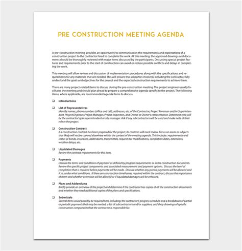 pre construction meeting agenda template construction meeting agenda template for word pdf format