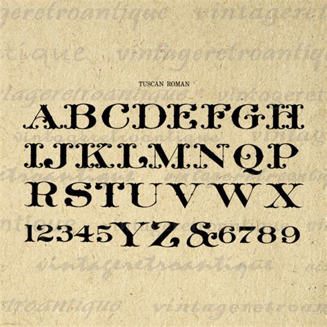 Antique Alphabet Graphic Digital Printable by