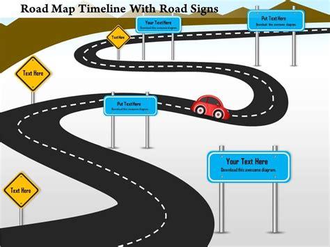 road map timeline 1214 road map timeline with road signs powerpoint presentation