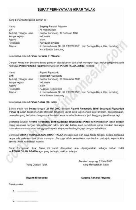 surat pernyataan contoh surat indonesia