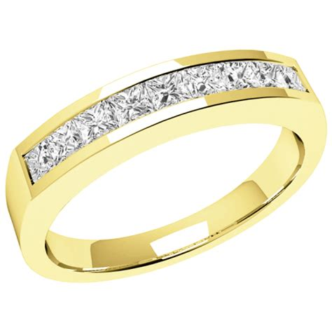 9 princess cut eternity ring in 18ct yellow