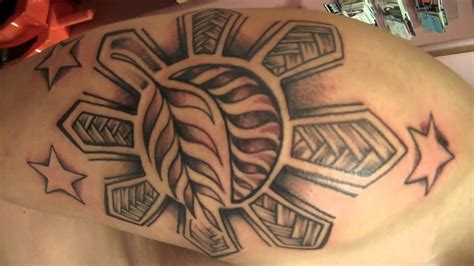 filipino tribal sun tattoo freehand youtube
