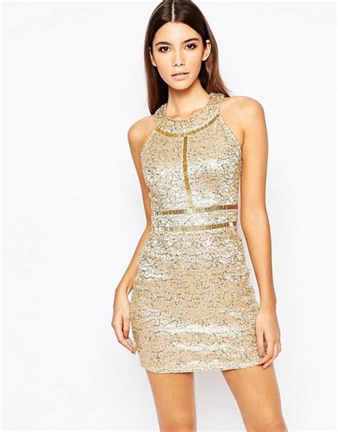 Gold Dress Premium wow couture wow couture premium metallic sequin mini dress with gold beaded details
