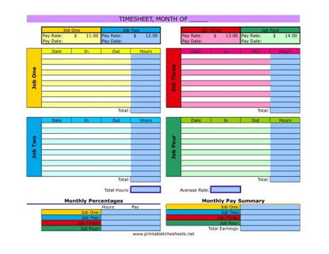Multiple Job Timesheet Printable Time Sheets Free To Download And Print Needs For Business Mls Listing Sheet Template