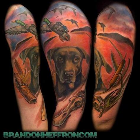 hunting dog portrait half sleeve by brandon heffron