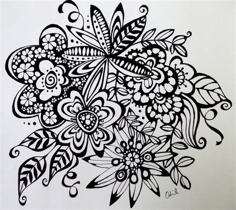 Free Coloring Pages Of Doodle Flowers