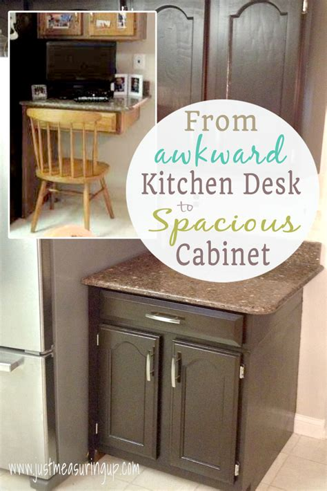kitchen desk cabinet transforming a kitchen desk into cabinet space tutorial