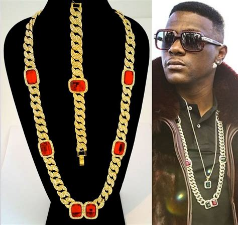 MENS HIP HOP RAPPERS MIAMI ICED OUT CUBAN LINK CHAIN RED