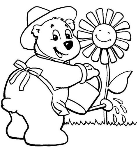 teddy bear with flower coloring page the gallery for gt teddy bear drawings pencil