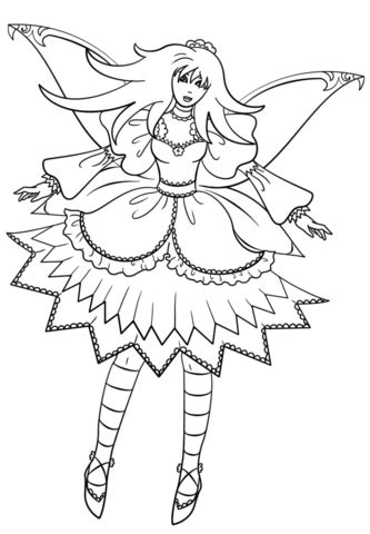 Goth Fairy coloring page | Free Printable Coloring Pages